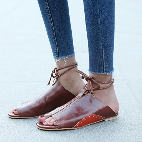 Haoricu Hot Sales Flat Shoes Women, Retro Women Flat-Bottomed Roman Sandals Open Ankle Straps Pumps Shoes Platform Slipper (US:5~9) (US:9, Brown) (Straps Fringe)