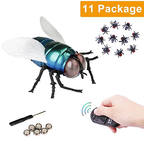 NiGHT LiONS TECH RC Infrared Remote Control Fake The Flies , Novelty Fake Plastic The Flies Look Real Prank Toys Insects Joke Scary Trick Toy Party April Fools' Day Gift for Kids/Friends Cat Dog Toy -