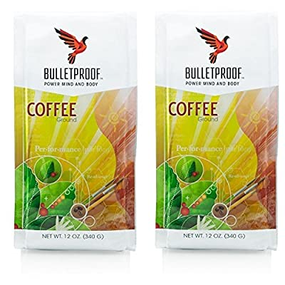 Bulletproof Ground Coffee 12oz (2 pack) + Bonus Uben Airtight Refillable container to ensure complete freshness. Full bag of coffee fits in wide mouth container from Bulletproof