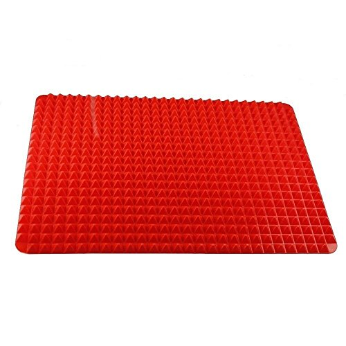 GHP 11.5 inchx16 inch Raised Pyramid Design -40°F to +500°F Cuttable Silicone Cooking Mat
