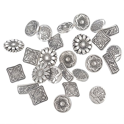 Silver Tone Buttons - 50 Pieces Mixed Antique Silver Tone Metal Buttons Scrapbooking Shank Buttons Sewing Accessories Crafts Supplies