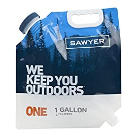 Sawyer Products Water Bladder for Mini and Squeeze Filters 101 Transport and filter water while backcountry camping, backpacking; also ideal for emergency preparedness kit; rolls up for easy packing Easily create a gravity-based water filtering system with the Sawyer MINI and Squeeze water filtration systems (not included) Lightweight, collapsible, 1-gallon water bladder (3.78 liters) with wide mouth for fast, easy filling and a convenient carry handle