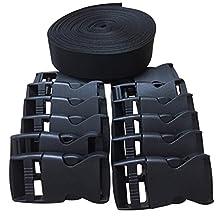 Home Furnishing 1 Inch Wide 10 Yards Black Nylon Heavy Webbing Strap+12 pcs black plastic 1-inch (25mm) flat side release buckles