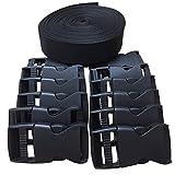 #7: Home Furnishing 1 Inch Wide 10 Yards Black Nylon Heavy Webbing Strap+12 pcs black plastic 1-inch (25mm) flat side release buckles