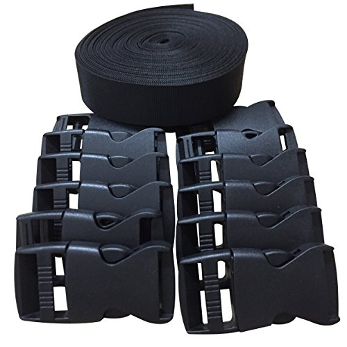 Black Nylon Strap (Home Furnishing 1 Inch Wide 10 Yards Black Nylon Heavy Webbing Strap+12 pcs black plastic 1-inch (25mm) flat side release buckles)