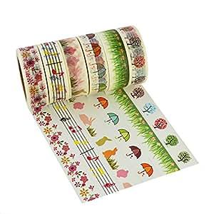[Updated Version] 6pcs Washi Masking Tape Collection Sticker Paper, Marrywindix 6x Decorative Masking Adhesive Tape Scrapbooking DIY
