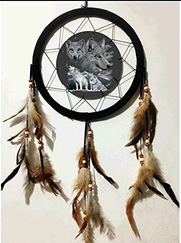 3D Dream Catcher Lenticular Wolf Wolves Design 10 Inches Feathers Beads
