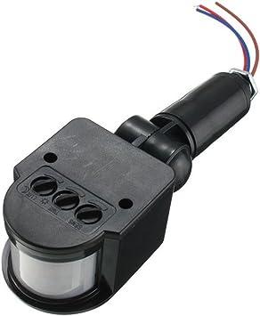 12m Pir Sensor Detector de Movimiento Infrarrojos Luz Montaje Pared Al Aire Libre Rf DC 12V - Negro: Amazon.es: Bricolaje y herramientas