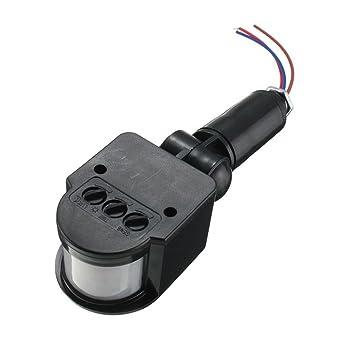 12m Pir Detector Sensor de Movimiento Infrarrojos Luz Al Aire Libre RF AC85V ~ 265V - Negro: Amazon.es: Bricolaje y herramientas