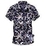 Shirts for Men Casual Printed Buttons Up Shirts Short Sleeve Hawaiian T-Shirt Top Blouse for Beach Summer Holiday