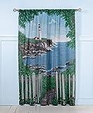"Saturday Knight By the Sea Window Art 84"" Panel Pair"