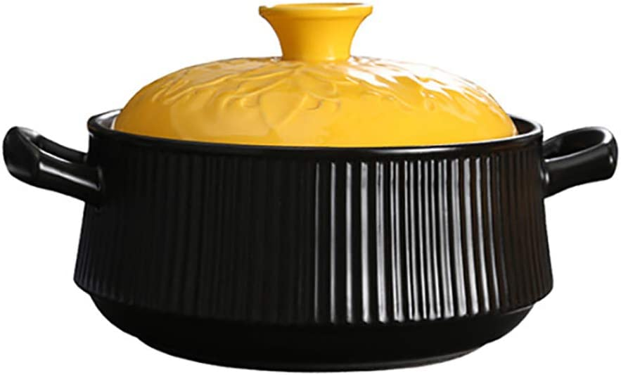 Soup Hot Pot Ceramic Casserole,Saucepan Earthen Pot Clay Pot Casserole with Yellow Lid Dish Crockpot Slow Cooker Black 2.1quart