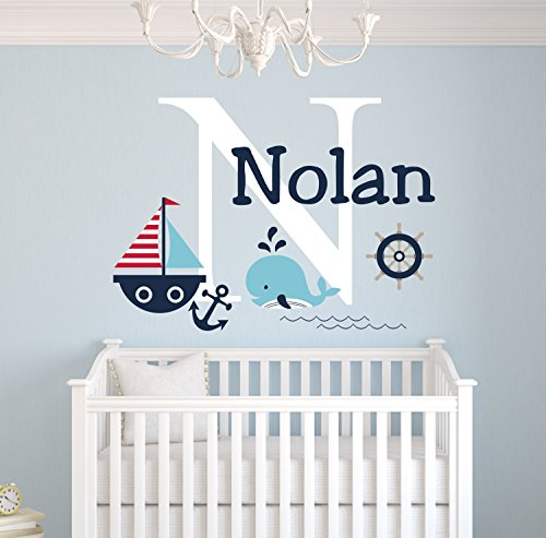 Personalized Nautical Theme Wall Decal - Nautical Decor - Nursery Wall Decals - Whale and Sailboat - Custom Vinyl Baby Nursery Decor