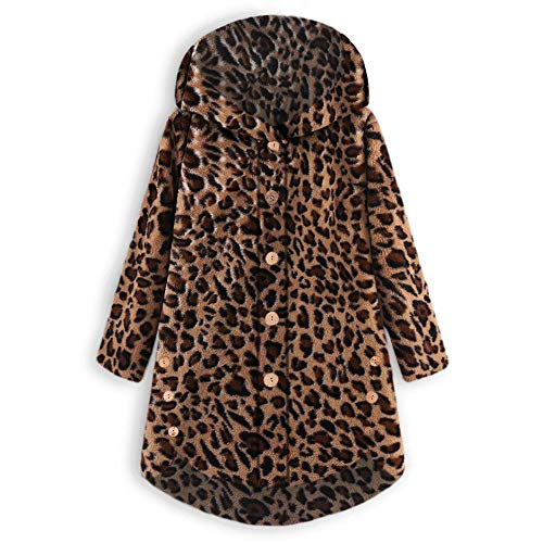 COPPEN Women Coat Button Fluffy Tail Tops Hooded Pullover Loose Sweater (Brown, XX-Large)