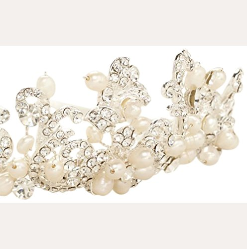 Pave Scroll Cultured Pearl Headband Style T9087, Ivory - Pave Scroll