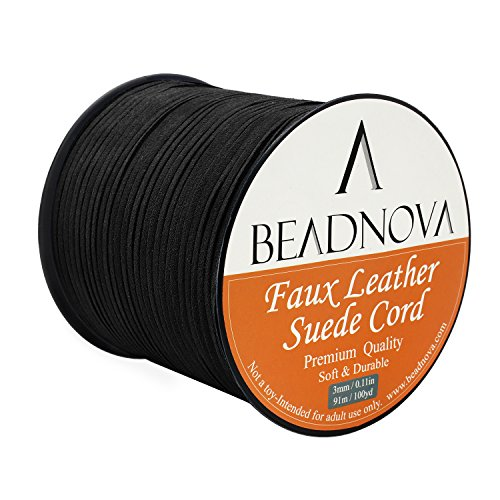 BEADNOVA 3mm Faux Suede Cord Flat Leather Cord 100 Yards Roll Spool for Necklace Bracelet Jewelry Making, Black