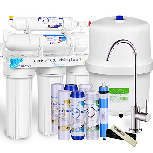 PUREPLUS 5-stage Reverse Osmosis Water Filtration System - 80 GPD Under Sink RO Filter Drinking Systems - Plus NSF 58 certified LG Original Membrane and Half year Filters - FDA Certified