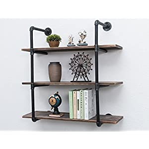 MBQQ Industrial Iron Pipe Shelf DIY with Wood 36.2in Retro Storage Book Shelves Wall Mounted Shelving Hung Bracket 3-Shelf Organizer