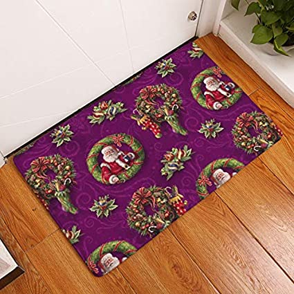 YQ Park Santa Door Mat Indoor Outdoor Carpet Entrance Mat, Durable    Non Slip
