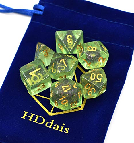 (Hddais Polyhedral Green Dice Set with with Color Changing Powder Inside 7-die Surface with Golden Number for RPG,Dungeons and Dragons,Pathfinder,Shadowrun,D&D,Role Palying Game and Math Teaching)