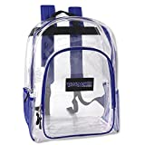 Deluxe Clear Backpack With Reinforced Straps For School, Security, and Sporting Events (Blue)
