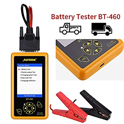 WonVon Car Battery Tester Analyzer with Automotive Battery Test, Cranking Test,Charging Test, Maximum Load Test Function and 4'' LCD Display,Portable,for 12V/24V Vehicles Lead Acid & Lithium Battery