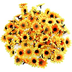 NUOLUX 100pcs Artificial Sunflower Heads for Home Party Decorations Props (Yellow)