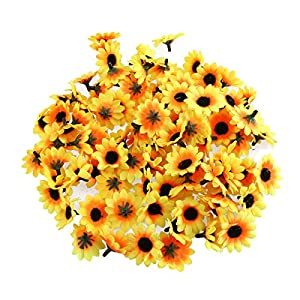 NUOLUX 100pcs Artificial Sunflower Heads for Home Party Decorations Props (Yellow) 77