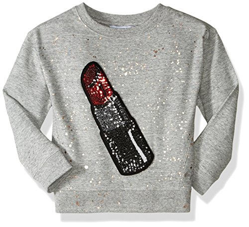 Little Marc Jacobs Girls' Glittered Lipstick Patch Sweatshirt (Little), Gris Chine, 8 (Big Kids) by Little Marc Jacobs