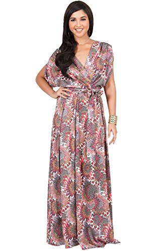 KOH KOH Womens Long Bohemian Boho Short Sleeve Summer Flowy V-Neck Casual Print Printed Sun Sundresses Maternity Gown Gowns Maxi Dress Dresses, Red Green and White L 12-14