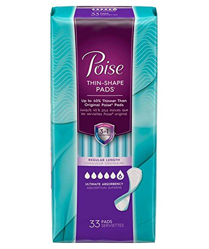 Poise Thin-Shape PadsUltimate Absorbency - 33 Count - 6 PACK