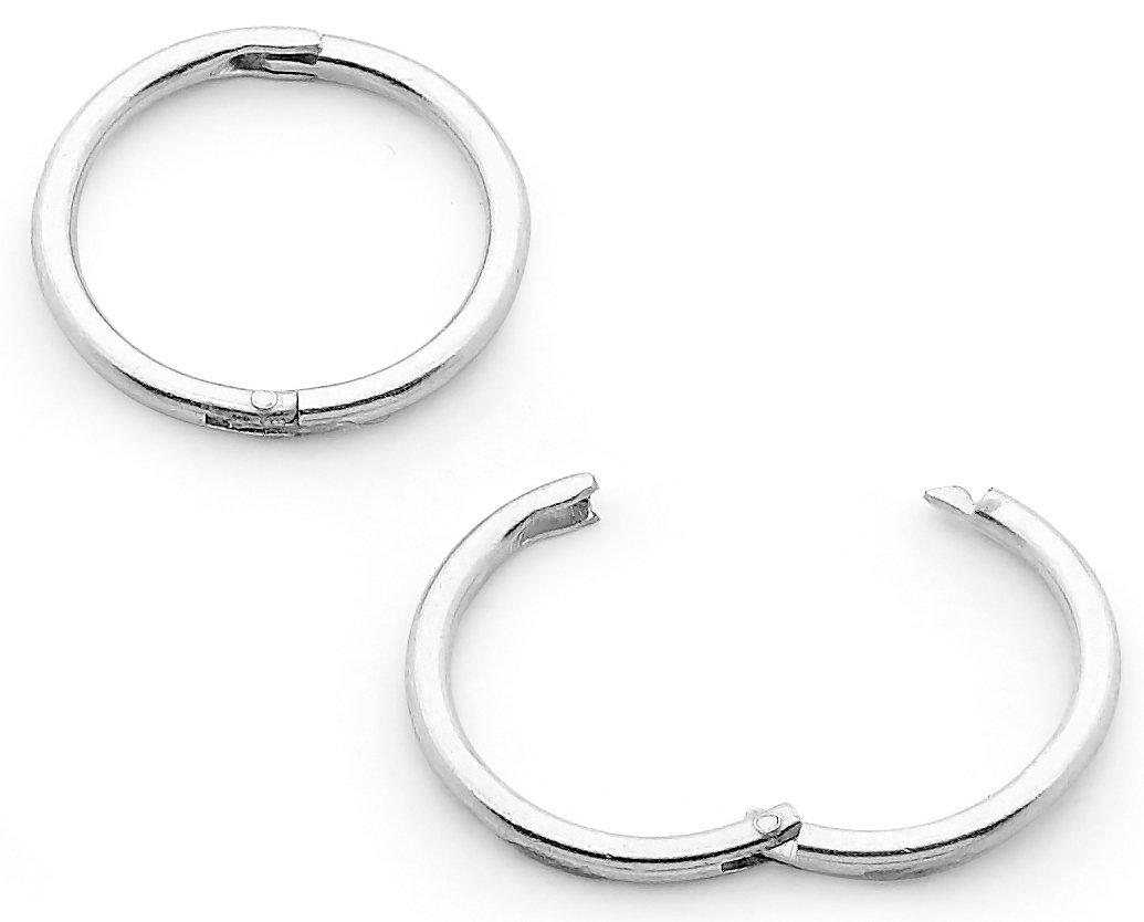365 Sleepers 1 Pair Solid Sterling Silver 18G Hinged Hoop Sleeper Earrings Made In Australia 8mm / 10mm / 13mm / 16mm B-HSL10SS