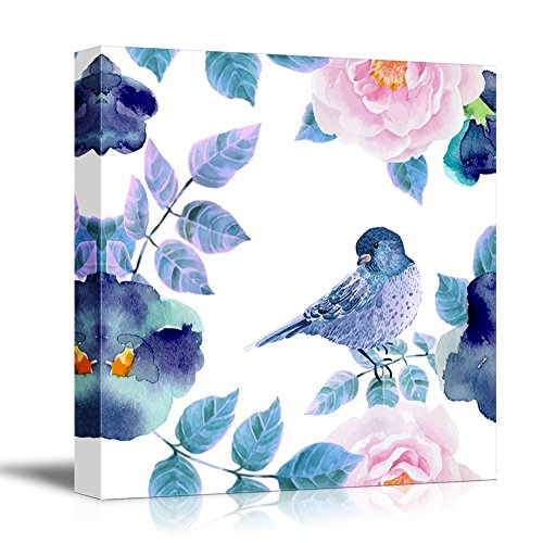 Square Watercolor Painting of a Blue Bird with Floral Background