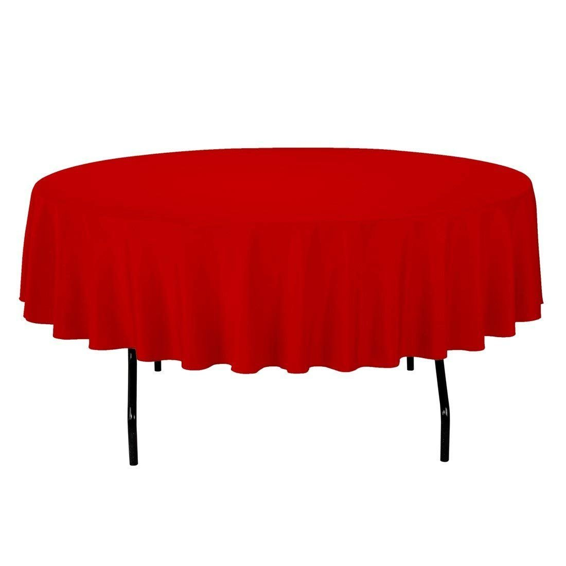 Zdada 72inch Round 2Suits Red Polyester Table Cover Washable Tablecloth Wedding Party Home Restaurant Hotel Use