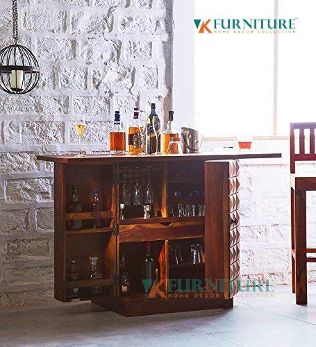 VK Furniture Sheesham Wood Stylish Bar Cabinet | for Living Room & Home | Liquor Storage | Wine Glass Storage Rack | Brown Finish