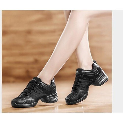 Gold Flats T Black and Gold Black Shoes Sneakers Dance Q Women's and Low HeelProfessional T Outdoor Fabric axFf0FB