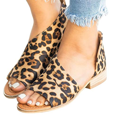 - SNIDEL Womens Faux Leather Sandal Open Toe Flats Sip on Summer Casual Low Heels Shoes Leopard 7.5 B (M) US