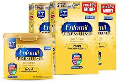 Enfamil PREMIUM Non-GMO Infant Formula - Reusable Powder Tub & Refills, 121.8 oz