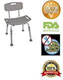 Bath Bench with Back Adjustable Legs Height, Lightweight Shower Bench with Non-slip Seat, Gray By Healthline Trading