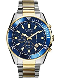 Bulova Marine Star Men's Quartz Watch with Blue Dial Analogue Display and Gold/Silver Ion-Plated Bracelet - 98B230