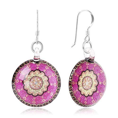 Designer Art Glass Earrings - Sterling Silver Hand Blown Glass Fuschia Pink & Gold Mandala Art Round Dangle Earrings