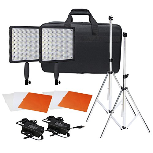 Neewer CN-576 576PCS LED Dimmable Ultra High Power Panel Digital Camera / Camcorder Video Light Kit, including (2)CN-576 LED Video Light, (2)Adapter, (2)Light Tripod, (2)Filter Kits(Orange, White, Transparent), (1)Light Bag by Neewer
