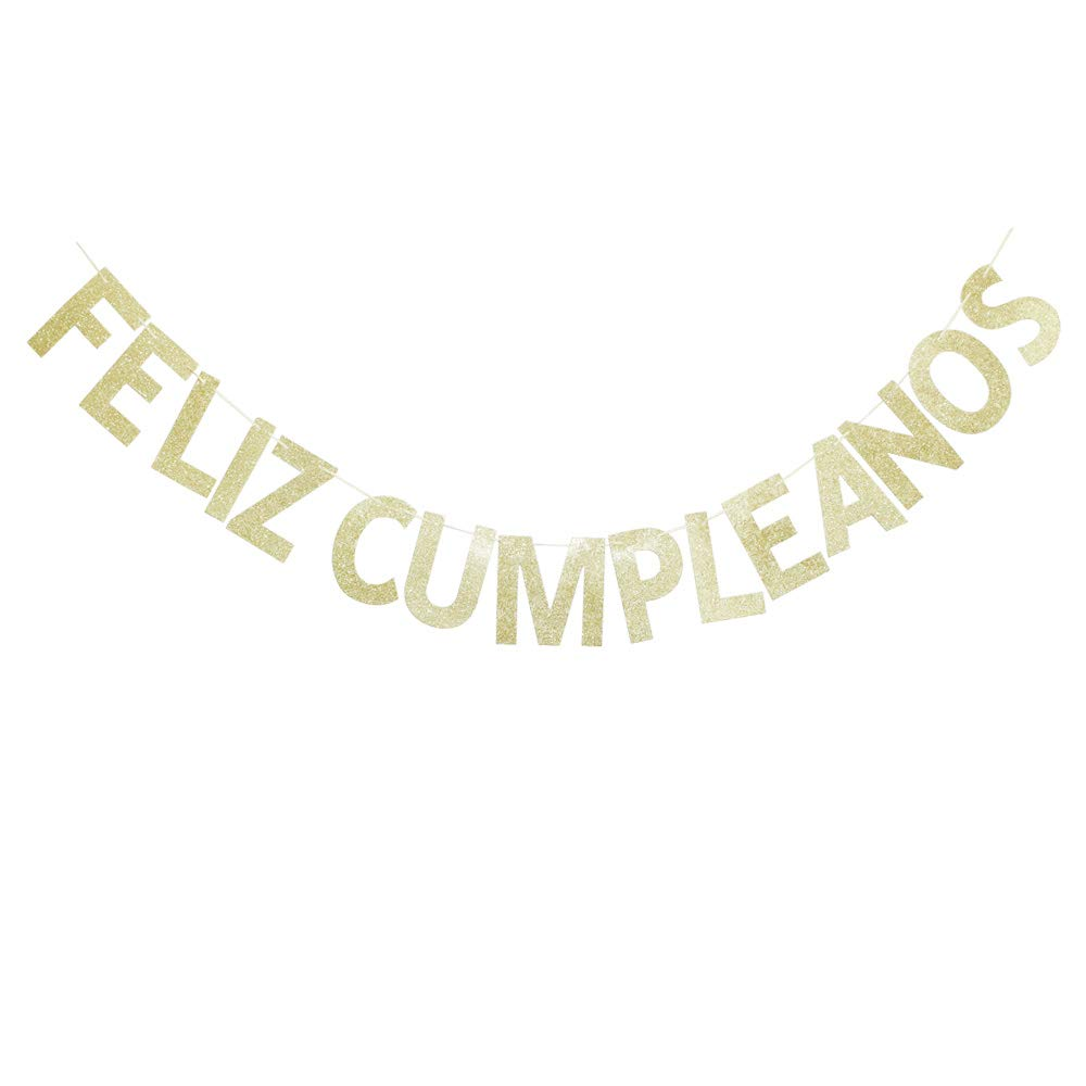 Amazon.com: Feliz Cumpleanos Gold Glitter Banner for Fiesta ...