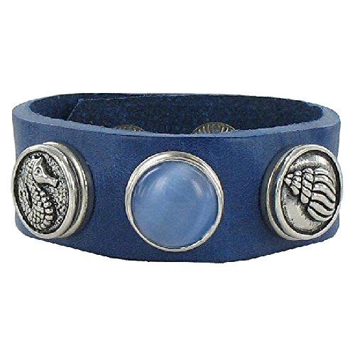 Quiges Bijoux 18mm Bouton Pression Bracelet en Cuir bleu marine Set #279