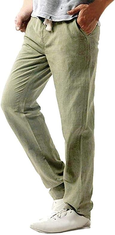 BIRAN Pantalones De Playa Casuales De Los Lino Hombres De Pantalones De Único Tela De Algodón De Los Hombres Pantalones De Tela Pantalones De Deportes De Regular Regular 100% Pantalones De Chándal: