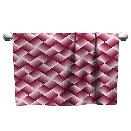 - Hand Towel Pink Geometric Background with Squares - Abstract Wallpaper Sport Towel Guest Towels 10 x 10 Inch