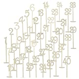 SODIAL(R) 40pcs 1-40 Wood Table Numbers with Holder Base for Wedding Home Wedding Anniversary Party Decoration