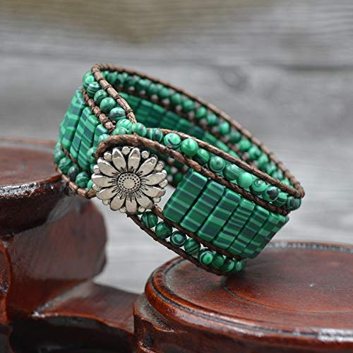 Bracelet with Europe and The United States | National Pure Manual Weaving Malachite -