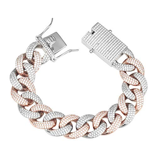 GOLD IDEA JEWELRY 18mm Iced Out Cubic Zirconia Hip Hop Miami Cuban Link Chain for Men (8.5, Rose Gold &White Gold)