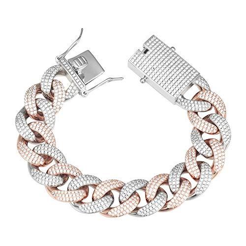 - GOLD IDEA JEWELRY 14k Gold Finish 18mm Iced Out CZ Lab Diamond Hip Hop Miami Cuban Link Bracelet for Men 8.5